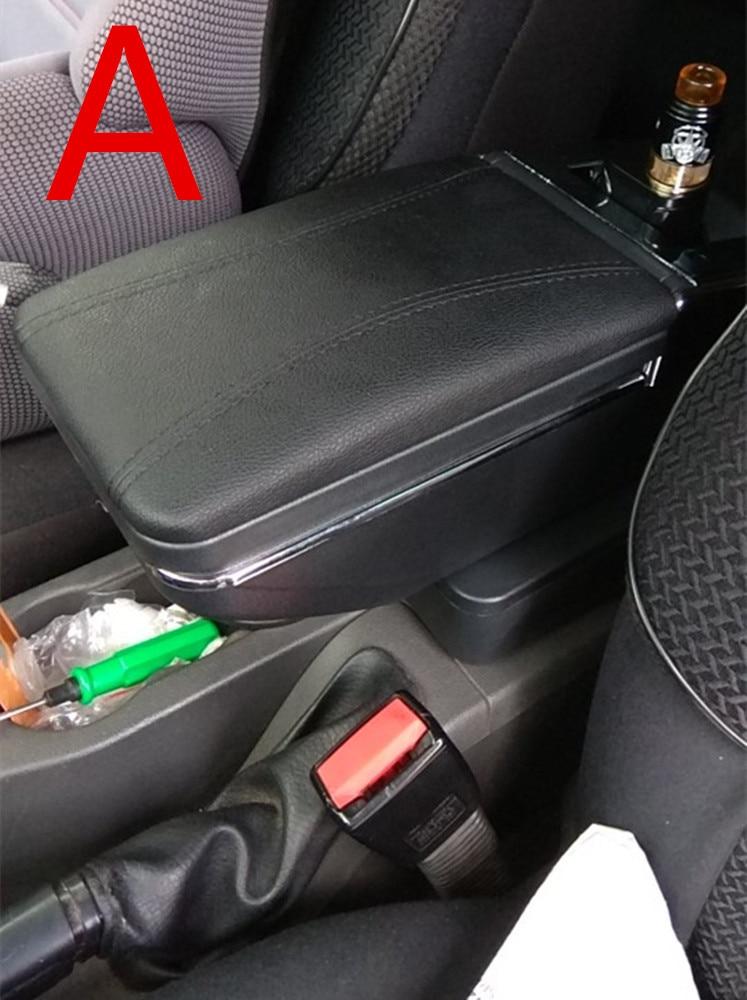 Для Volkswagen Polo подлокотник коробка Polo V Универсальный 2009- Автомобильная центральная консоль Модификация аксессуары двойной приподнятый с USB - Название цвета: A black black line