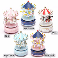 Bless Animated Classic 4 Horse Go Round Musical Carousels Box Classic Christmas Kid Children Birthday Gift