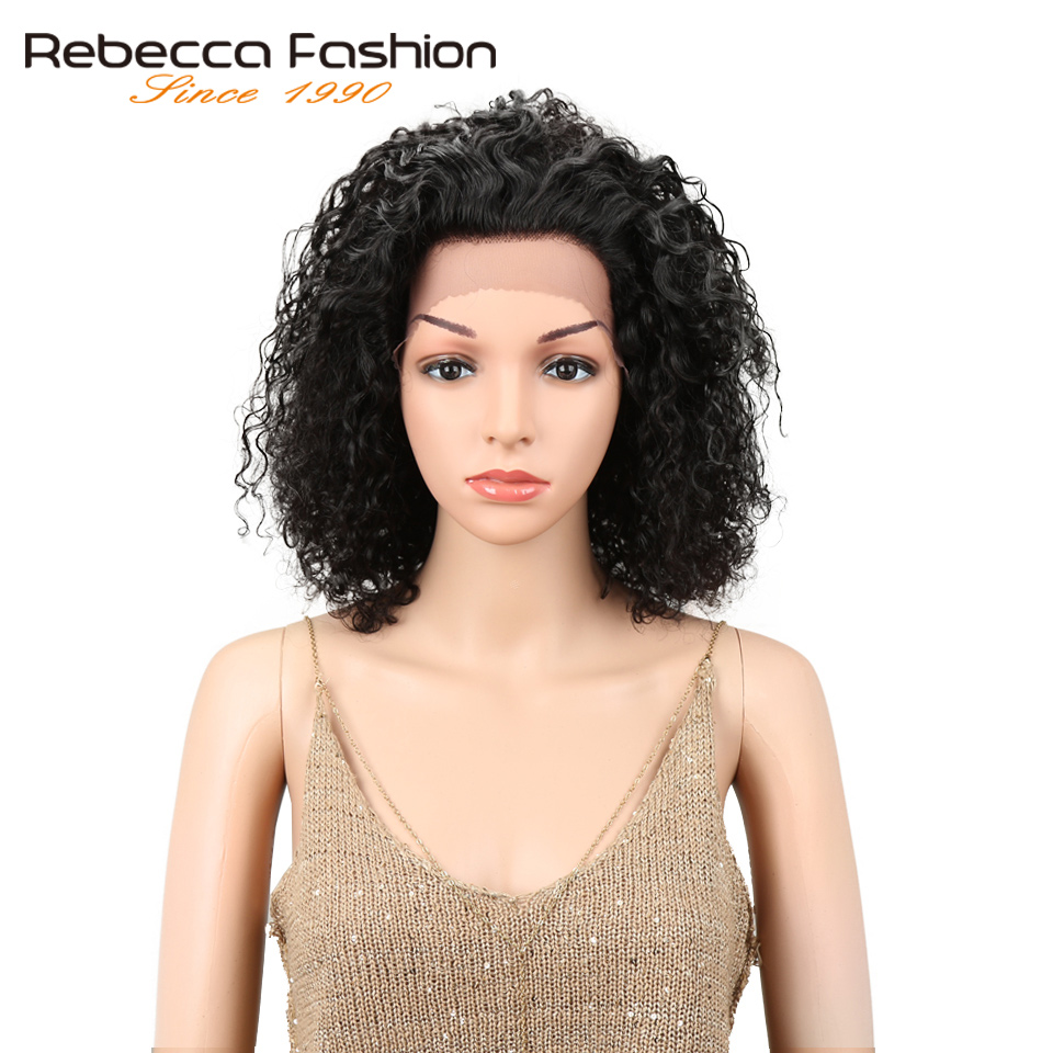 Rebecca Kinky Curly Hair Lace Front Human Hair Wigs For Black Women Peruvian Remy Hair Short