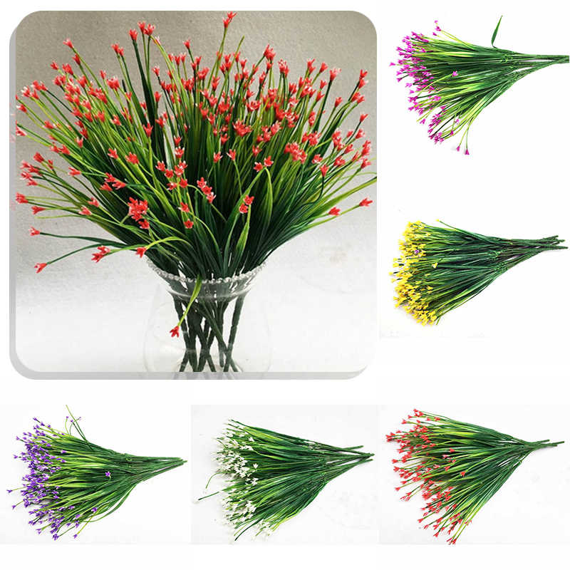 Hot 7 Head Plastic Artificial Flowers Green Artificial Grass Plants Home Office Desk Decorative Leaves Party Decors Supply