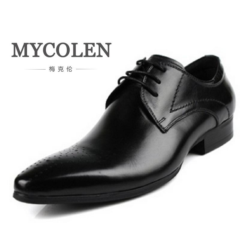 MYCOLEN Free Shipping Custom Leather Men Classic Shoe Bespoke Handmade Genuine Calf Leather Breathable Men's Office Schuhe 247 classic leather