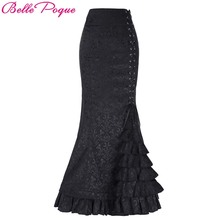 Belle Poque Women Skirts Vintage Retro Victorian Style Ruffled Jacquard Medieval Costume Fishtail Mermaid Long Maxi Skirt
