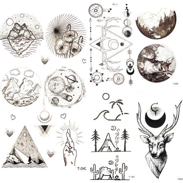 Petit Triangle Rond Etoile Lune Autocollant De Tatouage Temporaire