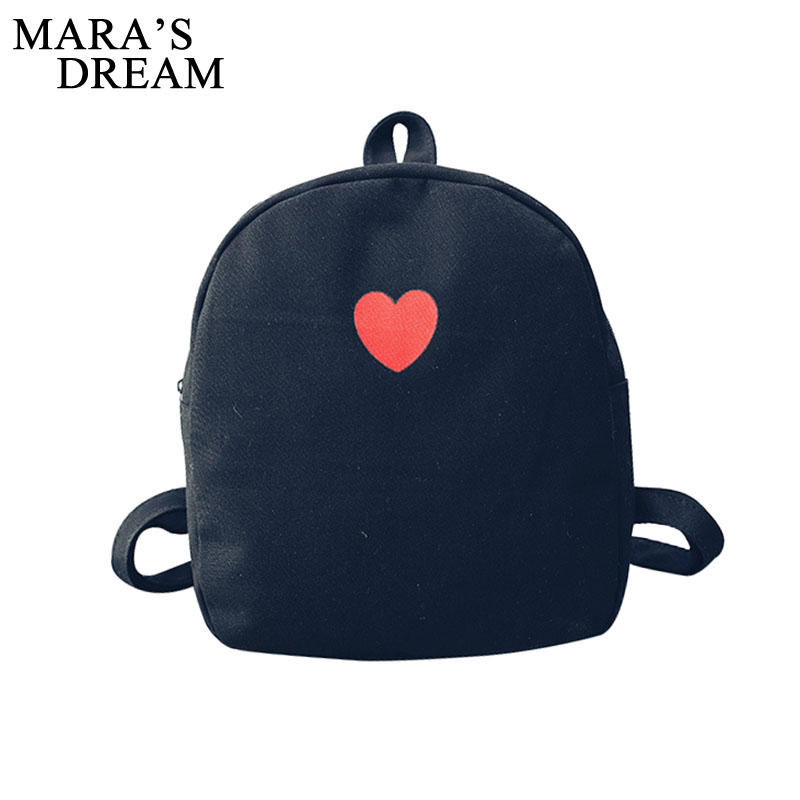 Mara's Dream Fashion Korean Style Women Canvas Backpack Heart School Bag For Teenage Girls Bookbags Travel Bag Mochila Female vintage cute owl backpack women cartoon school bags for teenage girls canvas women backpack brands design travel bag mochila sac