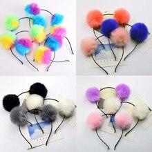 Colorful Fluffy Fur Ball Headband Kids Girls Women Princess Headdress Hair Accessories Party Pompon Headwear