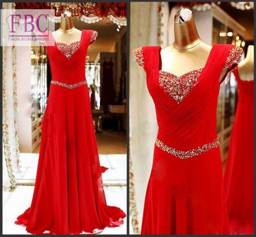 2018 echt Bild Prom Kleider Abendkleid Roten Perlen Strass Chiffon ...