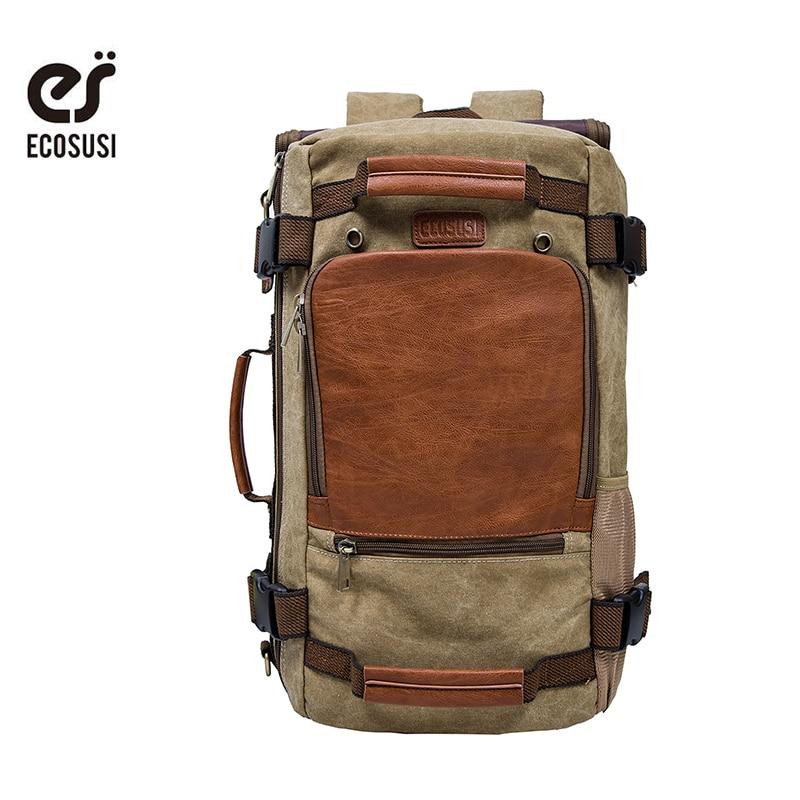 ECOSUSI Travel Backpack Men's Backpack Multifunction Bag Vintage Canvas Backpack Travel Duffel Bag Rucksack Hiking Bag Casual|brand school bags|school bags|school bags brand - title=