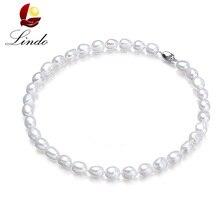 Самая низкая цена, белое Настоящее барокко, натуральный жемчуг, ожерелья для женщин, модная большая пресноводная жемчужина 9-10 мм, ювелирное серебро, новинка 925