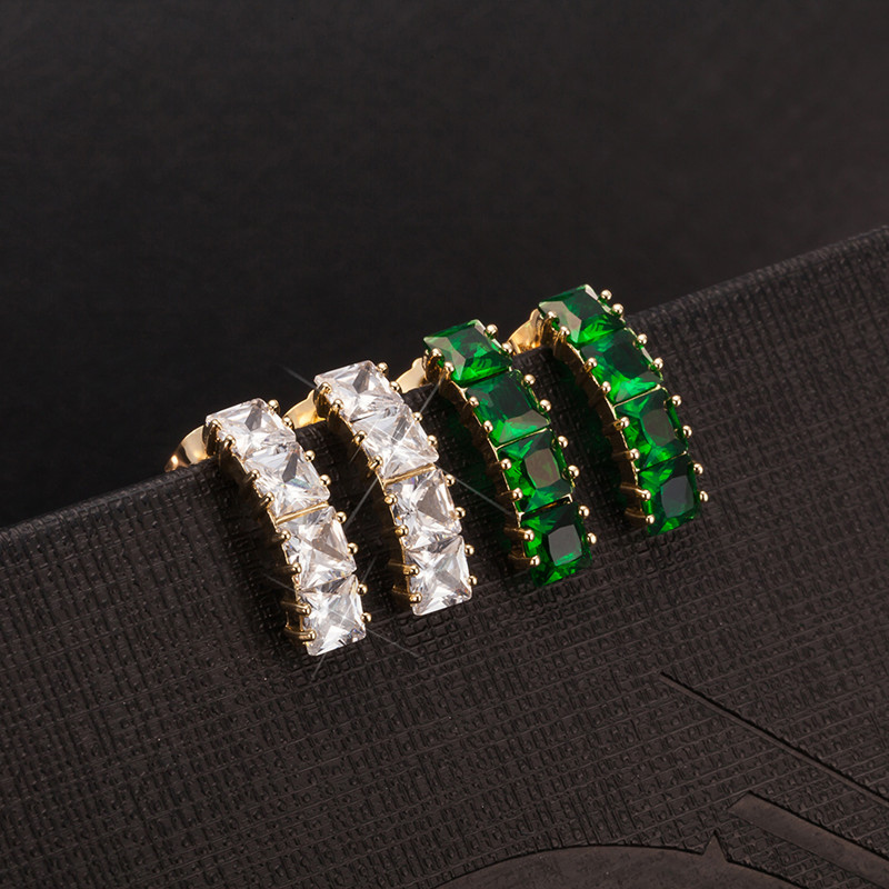 Wholesale Hot Sale 2015 Earrings Fashion Jewelry Luxury Fine Jewelry White/Green Austrian Crystals Long Stud Earrings For Women