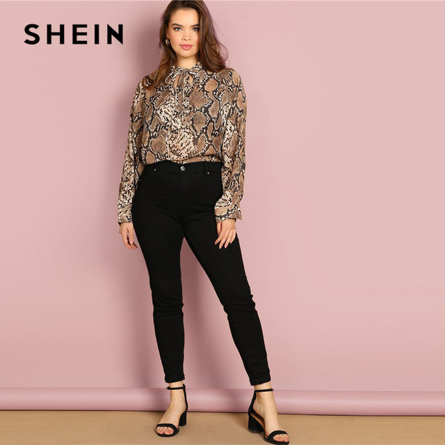 SHEIN Plus Size Tie Neck Snake Skin Print Women Blouses Office Lady Long Sleeve Elegant Spring Autumn Workwear Tops And Blouses 4