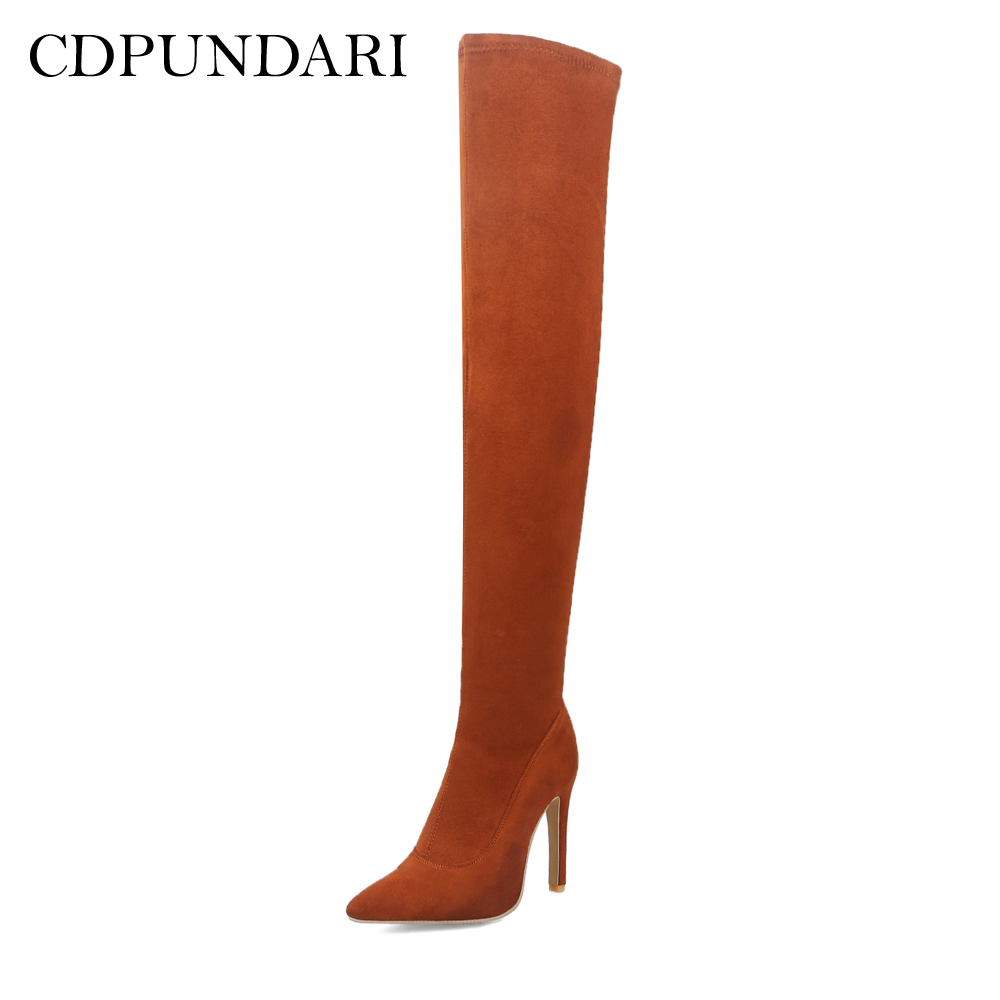 CDPUNDARI High heel over the knee boots women Pointed Toe thigh high boots shoes woman botas mujer bottine femme