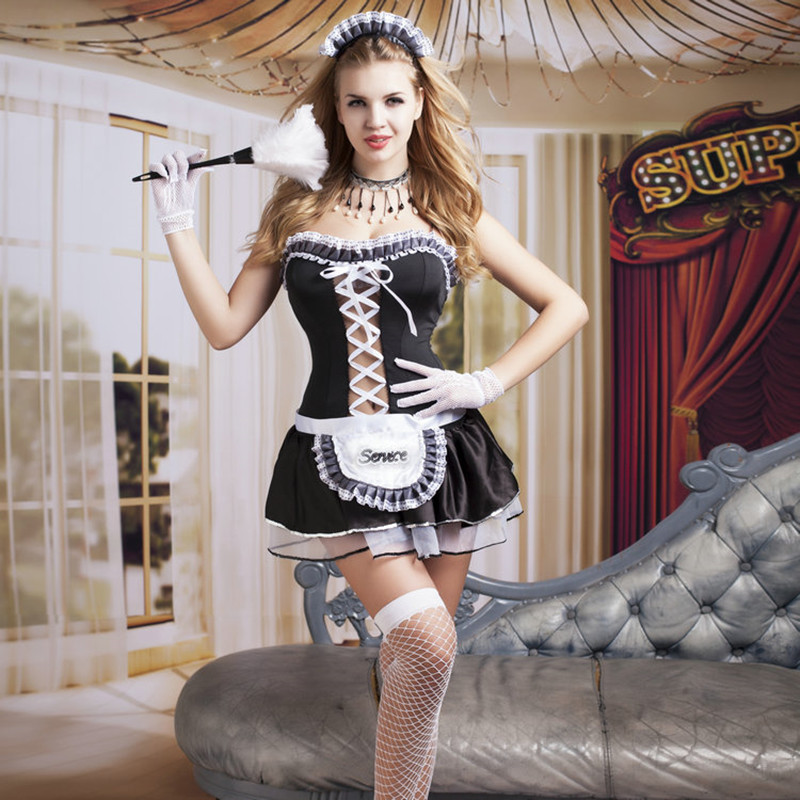 Women <font><b>Sexy</b></font> Nite French Maid Costume Room Service Cosplay Outfit <font><b>Sexy</b></font> <font><b>Halloween</b></font> Servant Costumes for Adult Women 9729 image