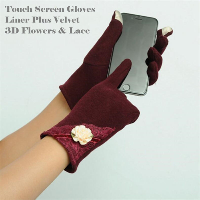 240p Women&Girl Fashion Winter  Running 2-Finger Touch Screen Gloves Cycling,Plus Velvet Cotton 3D Flowers&Lace Design
