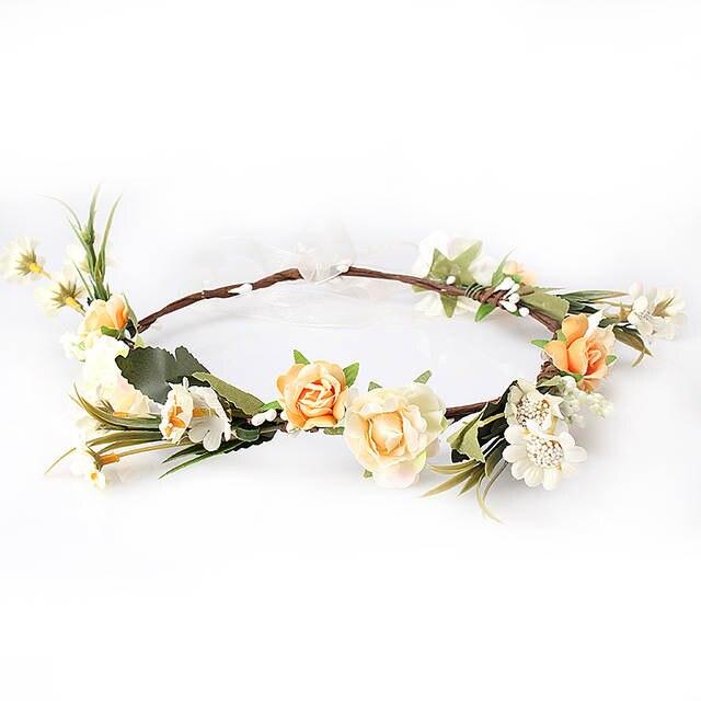 placeholder M MISM Bride Women Flower Crown Hair Band Wedding Floral  Headband Garland Ribbon Bow Girl Flower 50f04cee61b