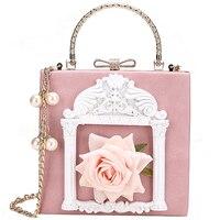 3d Flower Female Handbag Women's Designer Handbag 2018 Fashion High Quality PU Leather Women Tote bag Pearl Chain Shoulder bags