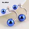 Korean Fashion Double Sided Simulated Pearl Earrings Jewelry For Women Cute Two Balls Rose Gold Stud Earrings Female Brincos