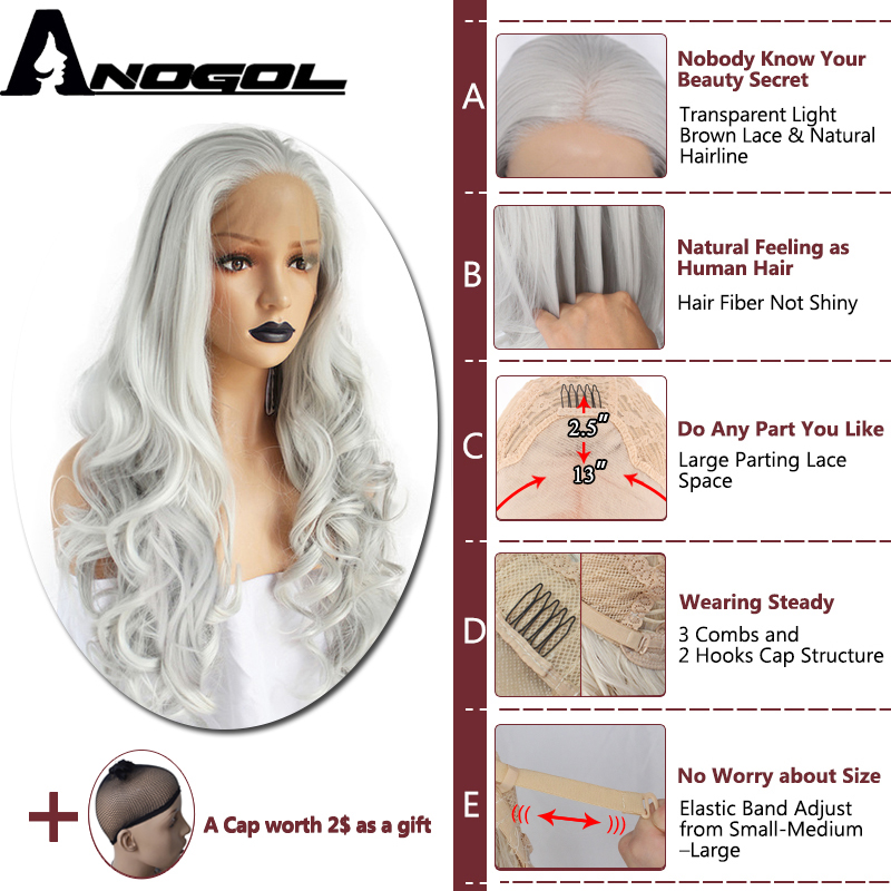 Anogol High Temperature Fiber Grey Hair Wigs Long Natural Body Wave Gray White Silver Synthetic Lace Front Wig for Women African in Synthetic None Lace Wigs from Hair Extensions Wigs