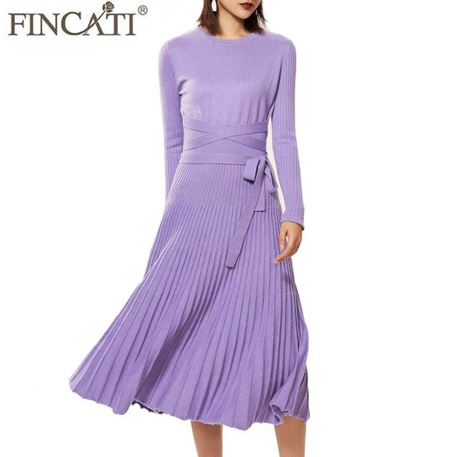 Winter Spring Dress Women 2018 Cashmere Blending Knitted Fitted Waist with  Belt Pleated Midi Long Style Vestidos de Festa 87222787af8e