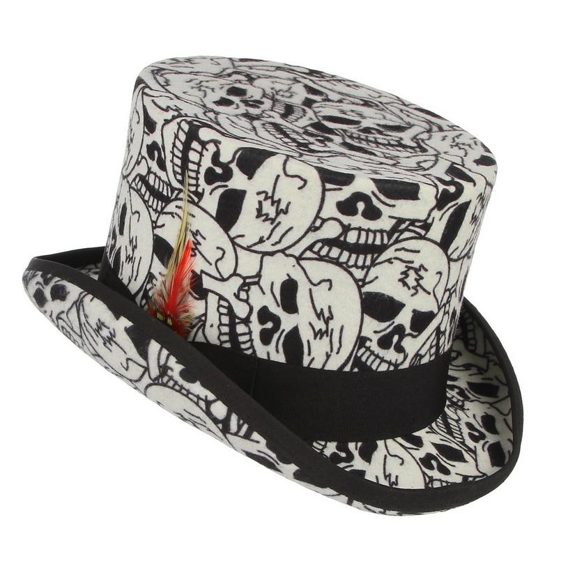 GEMVIE 100% laine feutre haut blanc chapeau crâne chapelier fou Costume accessoire à la main cylindre chapeau pour femmes hommes fête Fedora - 3