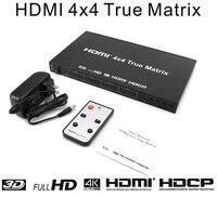 HDMI правильная матрица 4x4 Hdmi Сплиттер 4 к * 2 к Поддержка HDCP 4 к 3D Full HD 1080 P с пультом дистанционного управления + настенное зарядное устройство ад