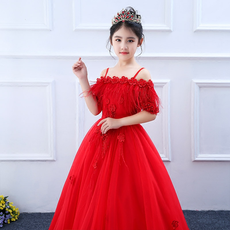 3-13T Red Princess Shoulderless Appliques Ball Gown Dress Flower Backless Royal Kids Pageant For Birthday Wedding Dress M16 2018 royal princess shoulderless flower ball gown dress long tailing sweet luxury backless kids pageant for birtyday party dress