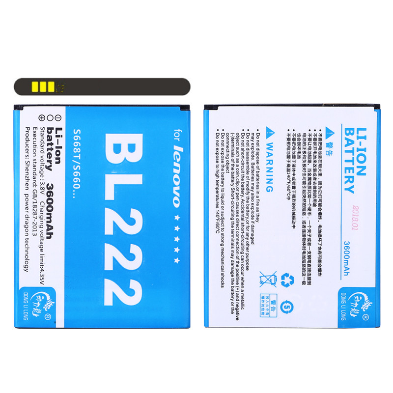 2017 New DLL Original BL222 Battery For Lenovo S660 S668T S 660 668T <font><b>BL</b></font> <font><b>222</b></font> <font><b>BL</b></font>-<font><b>222</b></font> 3600mAh Replacement Cell Phone Batteries image