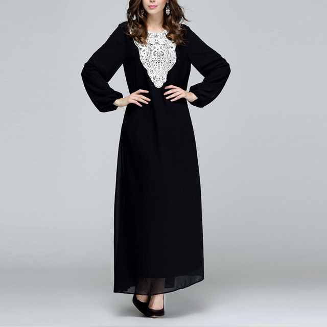 Women Plus Size Long Sleeve Chiffon Fall Indian Embroidery Maxi Dress