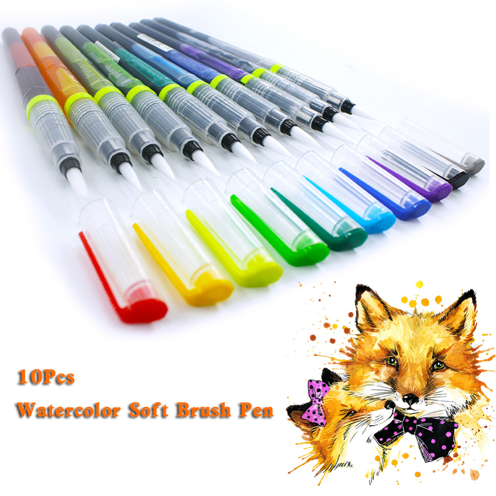10Pcs/Lot Ink Soft Brush Pen Watercolor Sketch Drawing Marker Pens Portable Calligraphy School Supplies Stationery touchnew 60 colors artist dual head sketch markers for manga marker school drawing marker pen design supplies 5type