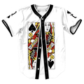 Queen of Spades Jersey Summer Style with buttons 3d print Hip Hop Men's shirts funny tops baseball shirt fashion top tees