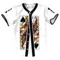 Rainha de Espadas Camisa Estilo Verão com botões de impressão 3d Hip Hop camisas engraçadas tops camisa do basebol dos homens top fashion tees