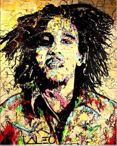 100% fait à la main Alec monopole peinture à l'huile sur toile art urbain décor mural Bob Marley 24x32