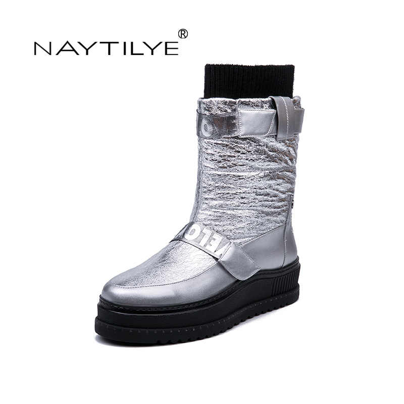NAYTILYE New winter 2018 PU leather boots shoes woman Round toe black silver size 36-40