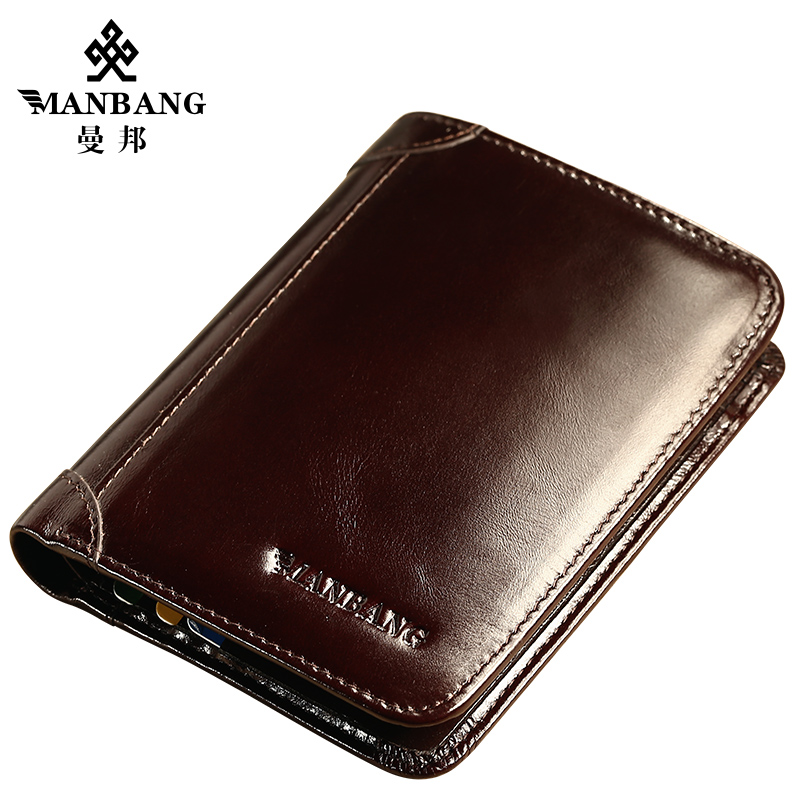 ManBang 2018 Genuine Leather Wallet Fashion Short Bifold Men Wallet Casual Soild Men Wallets With Coin Pocket Purses Male Wallet 2016 special wholesale male wallet wander settling anywhere a stall with spread out on ground short fund wallet ultrathin will