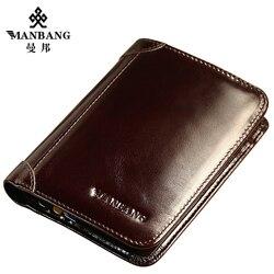 ManBang 2018 Genuine Leather Wallet Fashion Short Bifold Men Wallet Casual Soild Men Wallets With Coin Pocket Purses Male Wallet