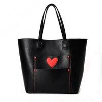 SFG дом Повседневное сердца шаблон Лоскутная сумка большой Ёмкость сумка Для женщин Винтаж из искусственной кожи Сумки черный, розовый синий