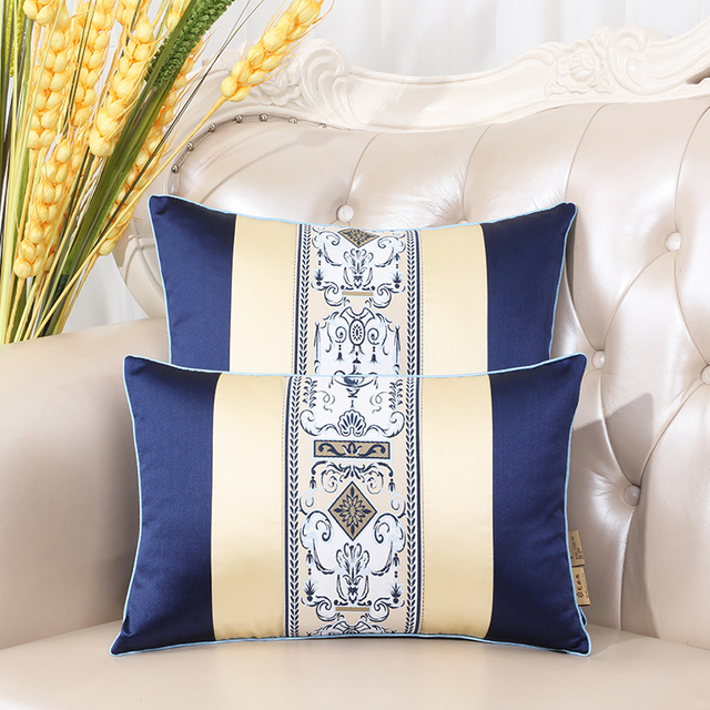 Latest European Decorative Cushion Covers for Sofa Seat Chair Backrest Lumbar Pillow Luxury Silk Satin Pillow Case