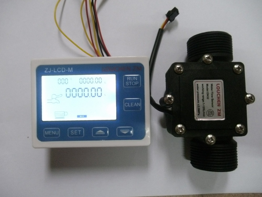 2017 G1-1/2 1.25 Flow Water Sensor Meter+LCD Display Quantitative Control 1-120L/min