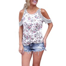 85acc27b26d Cold Shoulder Summer Ladies Floral Printed Blouse Women Tops Patchwork  Loose Tee Shirt Patchwork Striped Short