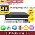 PoE #4 * HDD slot #4 K Ultra HD ONVIF NVR DVR 16ch/36ch 4 K/5mp/4mp/3 m/2mp câmera IP gravador de vídeo sistema de cctv GANVIS GV-TM8164XP
