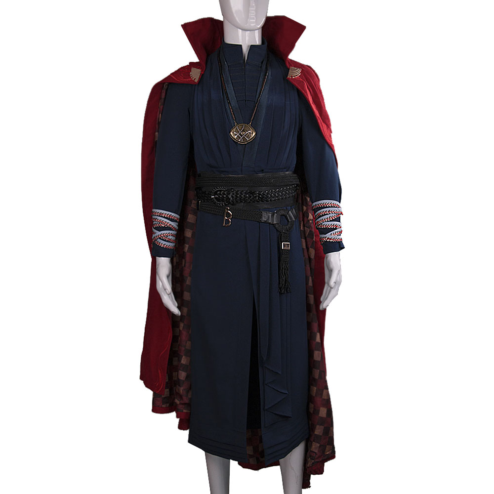 All Include Cosplay Doctor Strange Steve Full Set Costume & Ring Eye of Agamotto Necklace Free Halloween Party (3)