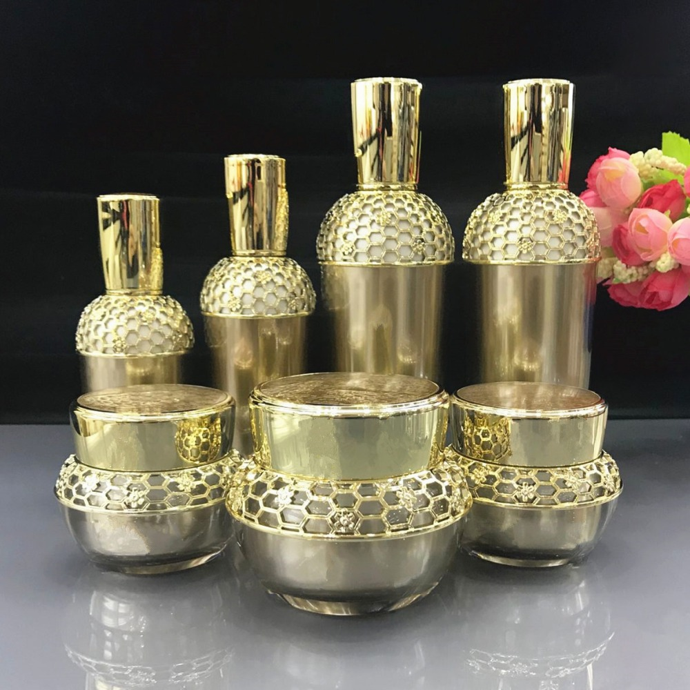 Honorable Royal Gold Cosmetics Sub Acrylic 30/60/120ML Lotion Pump Bottle, Classic 30/50G Acrylic Cream Jar 5PCS 1Suit high quality pearl white acrylic cream jar gold cap empty cosmetic container jar lotion pump bottle 30g 50g 30ml 50ml 120ml