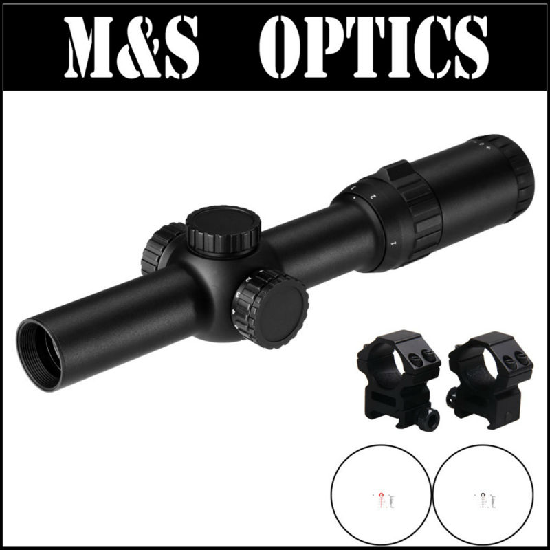 High Quality 1-6X24 Optics Sight Red Sights Iluminated Hunting Tactical Scopes Riflescope For 7.62 Rifles Guns with Ring Mount kandar 6 18x56q front tactical riflescope big objective with glass plate riflescope military equipment for hunting scopes