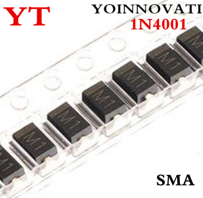 Free shipping <font><b>1000pcs</b></font>/lot <font><b>1N4001</b></font> SMA M1 1A 50V IC Best quality image