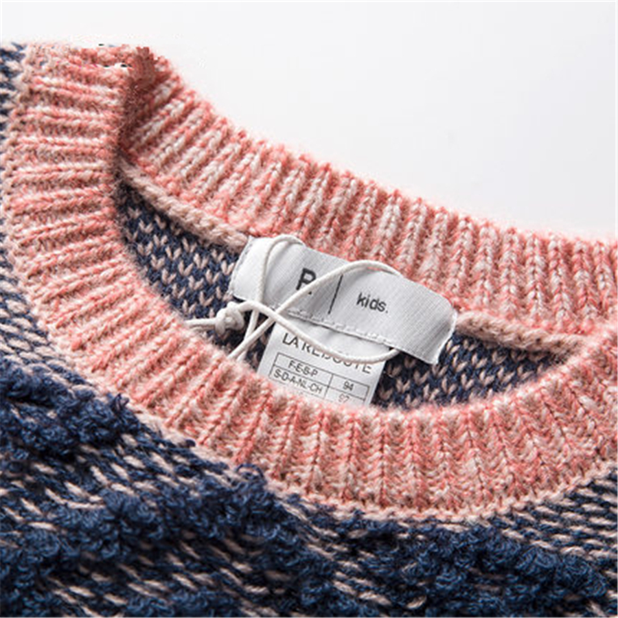 Winter Warm Boys Sweater Kids Striped Knit Pullover Fashion Acrylic Girls Pullover Cotton Sweaters O-neck 60W0029 boys girls winter sweater kids knitted pullover sweater thicken warm kids cardigan sweater double breasted children outwear 2 5t