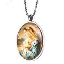 Головное ожерелье Девы Марии из нержавеющей стали, католический медальон Дева Мария, религиозное ожерелье