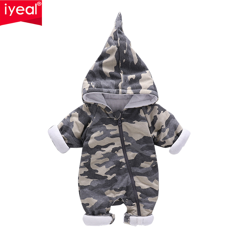 IYEAL Baby Boy Hooded Romper Newborn Baby Girls Boys Camo Long Sleeve Jumpsuit Kids Toddler Outfits Clothes Roupas de bebe 2017 summer toddler kids girls striped baby romper off shoulder flare sleeve cotton clothes jumpsuit outfits sunsuit 0 4t