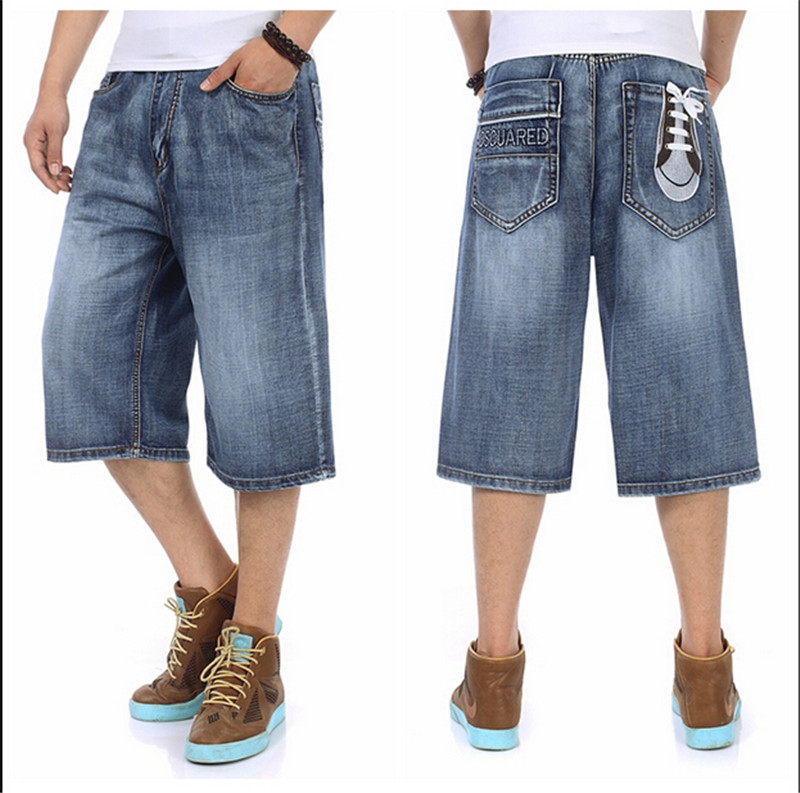 Hip hop trousers baggy jeans short men print fashion 2015 new design blue summer calf length