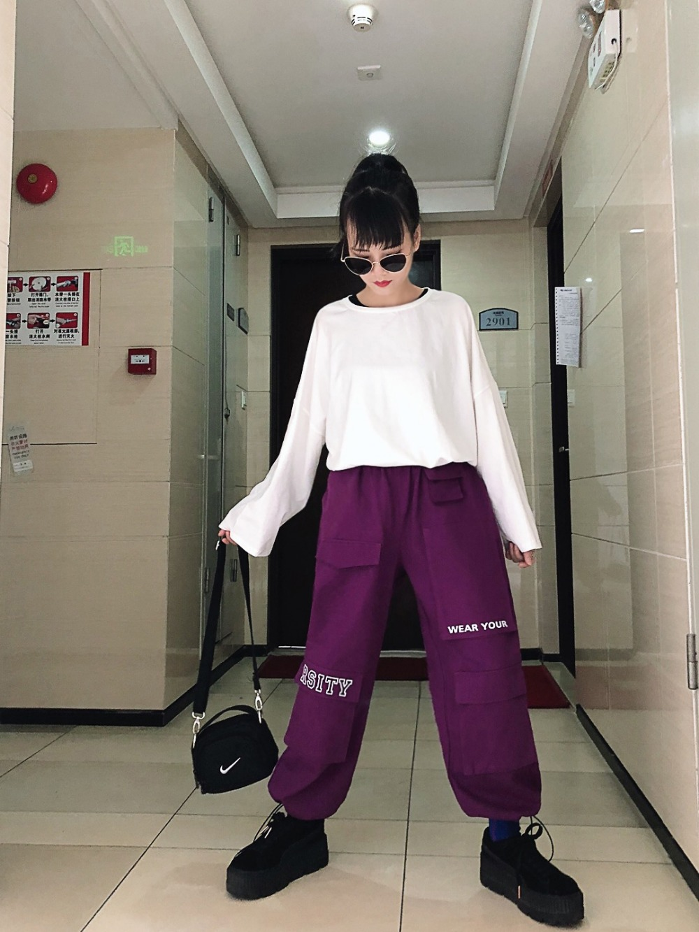 Ancha Bordado 2019 Pierna púrpura Pantalones Carta Otoño Marca Negro Costura Mujer Multi Moda De Bolsillos Herramientas Nueva qfw06Rxf