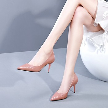 MLJUESE 2019 women pumps autumn spring cow leather  pink color pointed toe thin heel high heels lady shoes party dress wedding