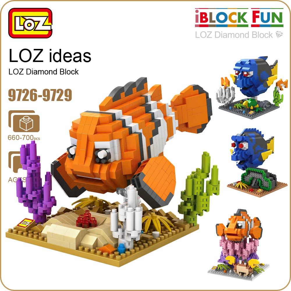 LOZ Diamond Blocks Tropical Fish Toys Plastic Clown Fish Regal Blue Tang Building Blocks Figures Christmas Gift Anime 9726-9729
